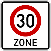 30 kilometer zone sticker 10 cm.